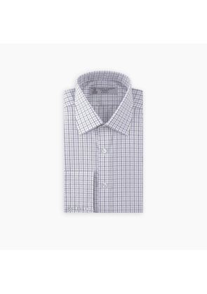 Purple and White Boxcheck Shirt with T & A Collar and 3-Button Cuffs
