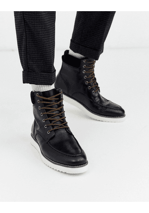 Truffle Collection hybrid lace up boot in black