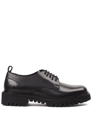 Black Derby Laced Leather Shoes