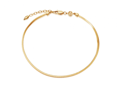 Lucy Williams Gold Square Snake Chain Anklet