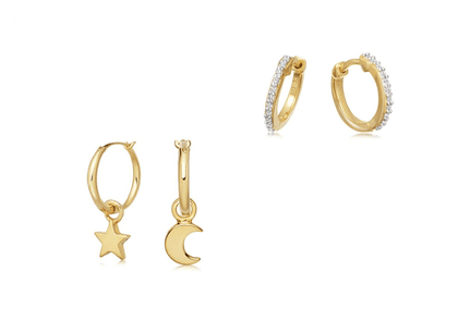 Gold Starry Night Hoops Set