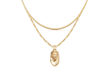 Gold Cameo Chain Necklace Set