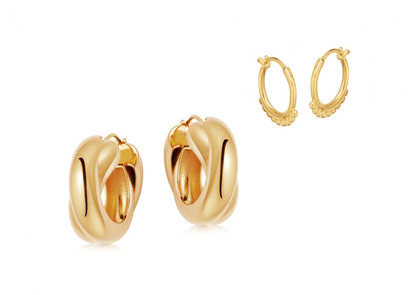 Gold Chunky Entwine Earring Set