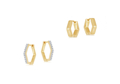 Gold Hex Stack Earring Set