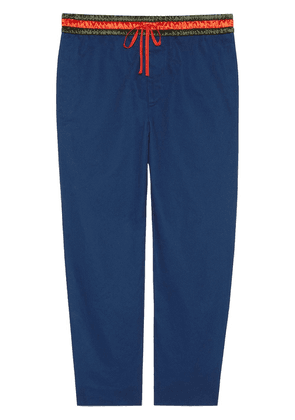 Gucci logo detail cropped trousers - Blue
