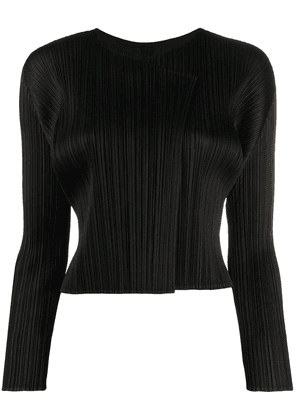 Pleats Please Issey Miyake pleated cardigan - Black