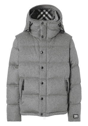 Burberry detachable sleeve cashmere hooded puffer jacket - Grey