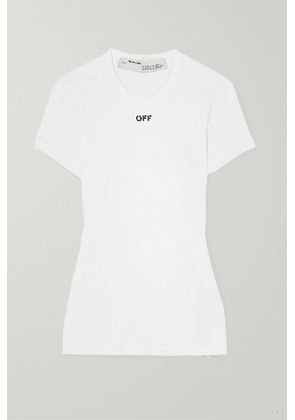 Off-White - Ribbed Printed Stretch-cotton Jersey T-shirt - IT38