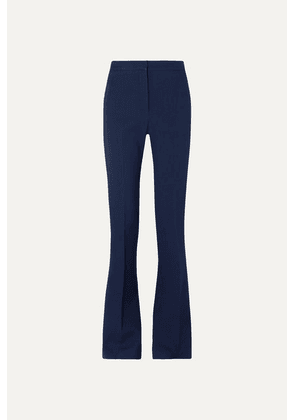 Alexander McQueen - Striped Satin-trimmed Grain De Poudre Wool-blend Flared Pants - Blue