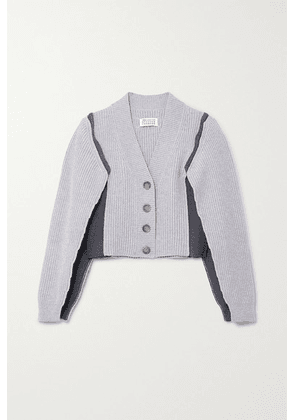Maison Margiela - Ombra Paneled Ribbed-knit Cardigan - Gray