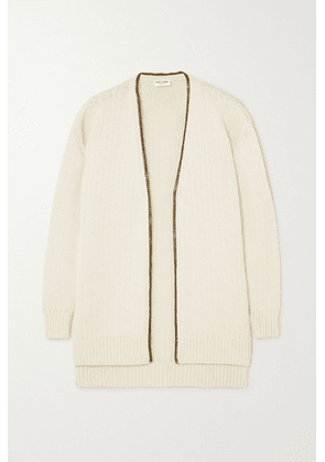 SAINT LAURENT - Chain-embellished Knitted Cardigan - Ivory