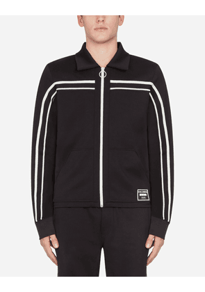Dolce & Gabbana Sweatshirts - ZIP-UP SWEATER WITH PATCH BLACK