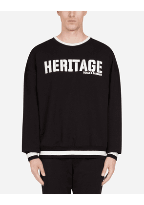 Dolce & Gabbana Sweatshirts - JERSEY SWEATER WITH HERITAGE PRINT BLACK