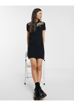 Fred Perry x Amy Winehouse Foundation leopard print pique dress-Black