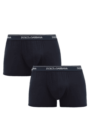 Dolce & Gabbana - Pack Of Two Logo Cotton-blend Boxer Briefs - Mens - Navy