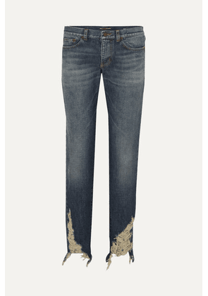 SAINT LAURENT - Distressed Boyfriend Jeans - Blue