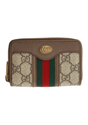 Gucci Beige and Brown Ophidia Zip Around Card Holder