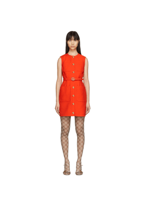 Gucci Red Silk and Wool GG Cady Dress