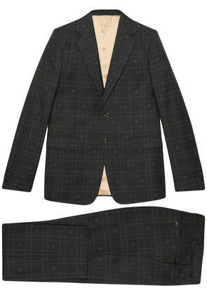 Gucci checked bee embroidered London suit - Grey