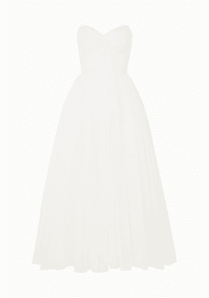 Monique Lhuillier - Brie Strapless Ruched Swiss-dot Tulle Gown - Ivory
