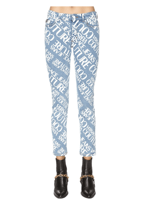 All Over Printed Cotton Denim Jeans