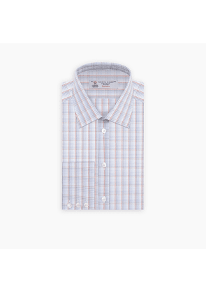 Blue and Red Multifade Check Shirt with T & A Collar and Button Cuffs