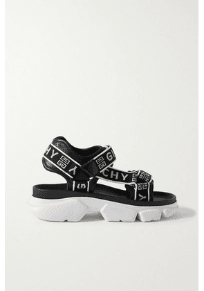 Givenchy - Jaw Logo-jacquard And Perforated Faux Leather Platform Sandals - Black