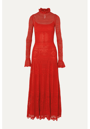 Alexander McQueen - Ruffled Crocheted Cotton-blend Lace Maxi Dress - Red