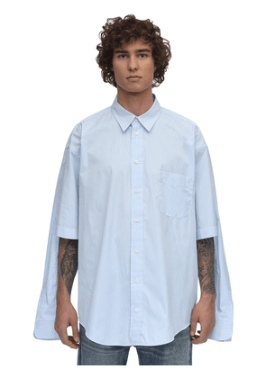 Striped Double Sleeve Cotton Shirt