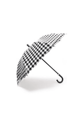 Dolce & Gabbana Leather-trimmed Gingham Coated Cotton Umbrella Woman Black Size --
