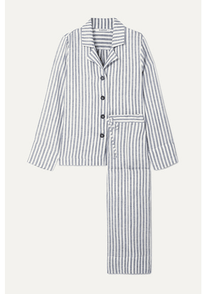 Sleeper - Striped Linen-gauze Pajama Set - Blue