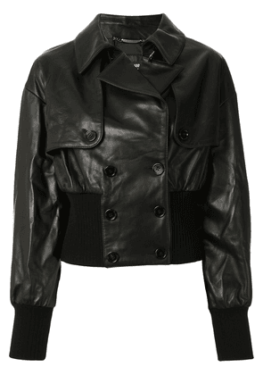 Dolce & Gabbana double-breasted leather jacket - Black