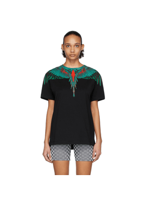 Marcelo Burlon County of Milan Black and Green Wings T-Shirt