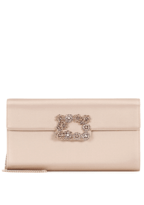 Flower Buckle satin clutch