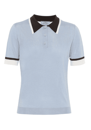 Silk knit polo shirt