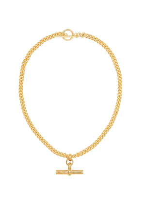 Gold-plated T-bar necklace