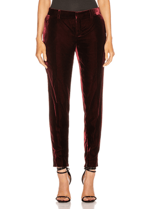 Saint Laurent Skinny Tailored Pant in Bordeaux - Red. Size 42 (also in 34,38).