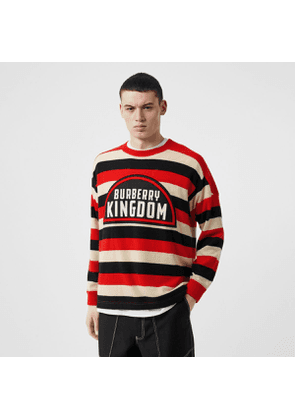 Burberry Kingdom Detail Striped Cashmere Sweater, Red