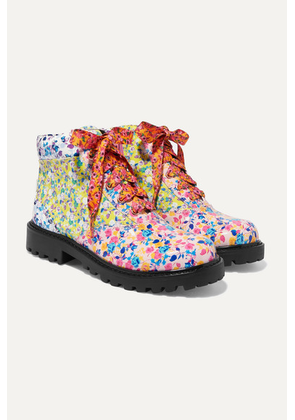 Sophia Webster Kids - Size 21 - 34 Tia Paneled Floral-print Patent-leather Ankle Boots