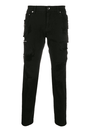 Dolce & Gabbana crown patches skinny jeans - Black