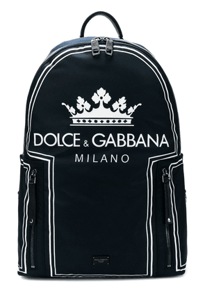 Dolce & Gabbana crown logo print backpack - Blue