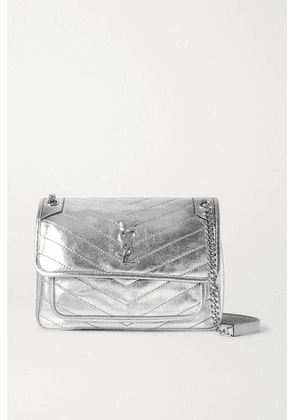 SAINT LAURENT - Niki Medium Quilted Metallic Leather Shoulder Bag - Silver