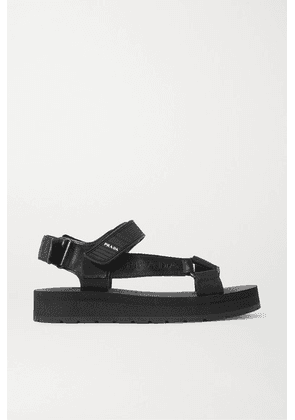 Prada - Nomad Logo-print Rubber And Leather-trimmed Canvas Sandals - Black