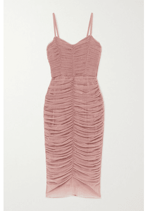 Dolce & Gabbana - Ruched Tulle Midi Dress - Pink
