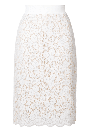 Dolce & Gabbana floral lace skirt - White