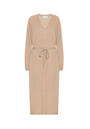 Belted wool-blend dress