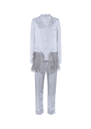 Feather-trimmed satin pyjamas