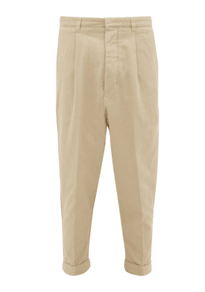 Ami - Carotte Oversized Pleated-front Cotton Chinos - Mens - Beige