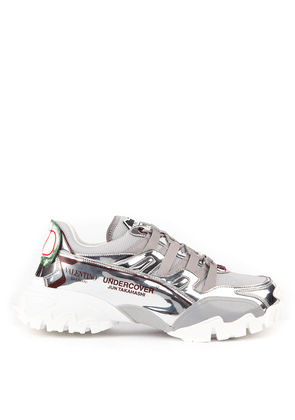 Climber In Silver Mesh & Leather Sneakers
