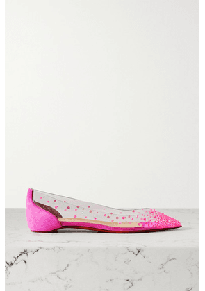 Christian Louboutin - Degrastrass Embellished Pvc And Suede Point-toe Flats - Fuchsia